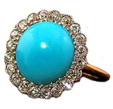 Erstwhile Jewelry Co. Victorian Turquoise and Diamond Ring